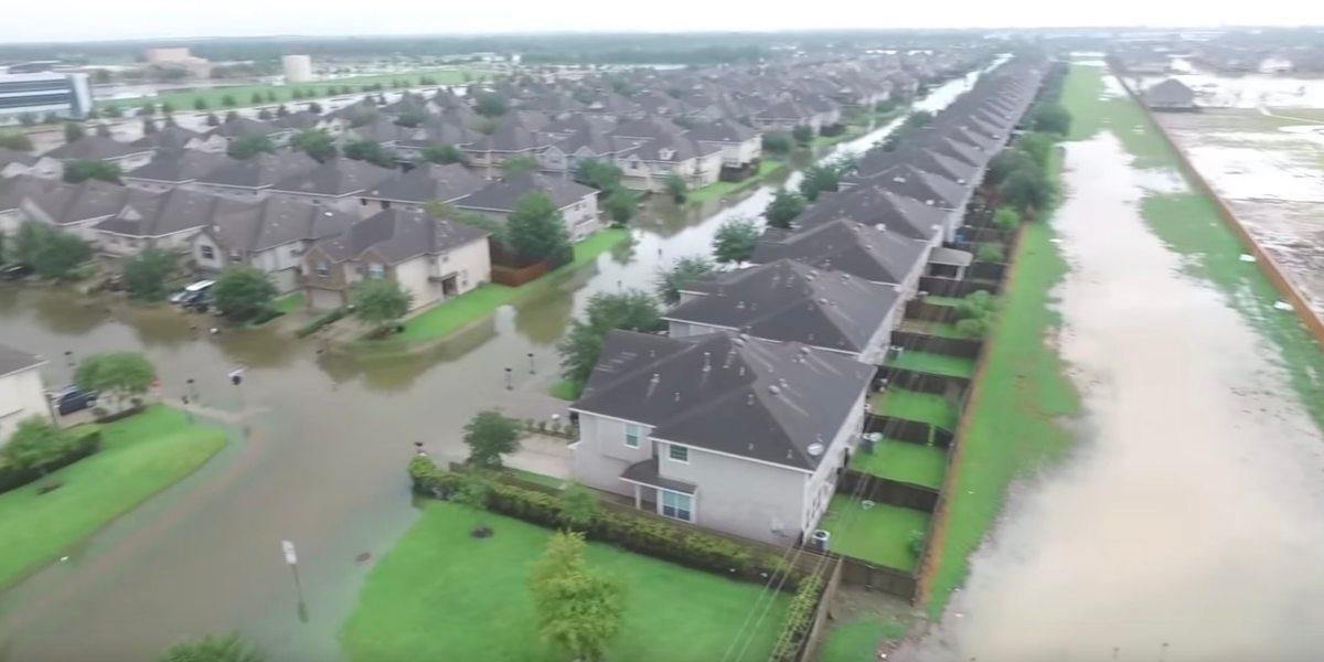houston flood drone footage amateur harvey