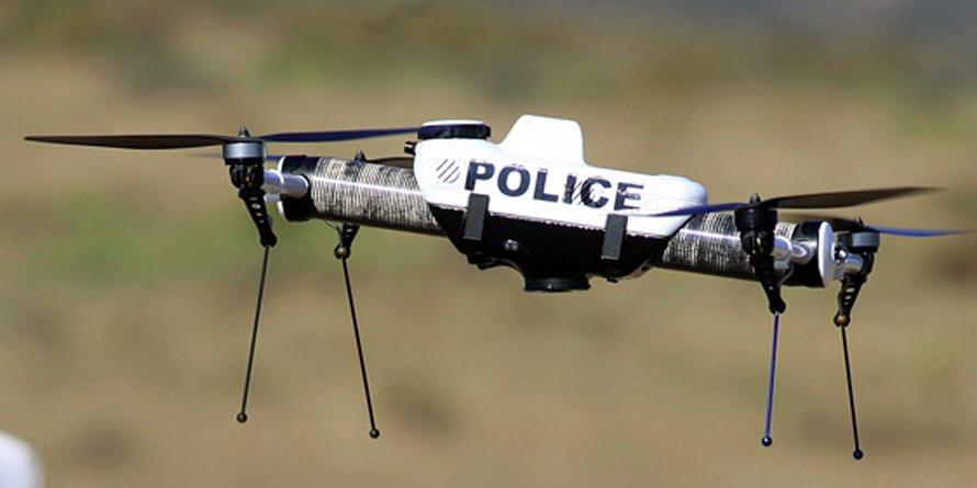Police drone tested outside apartment building by Boston police