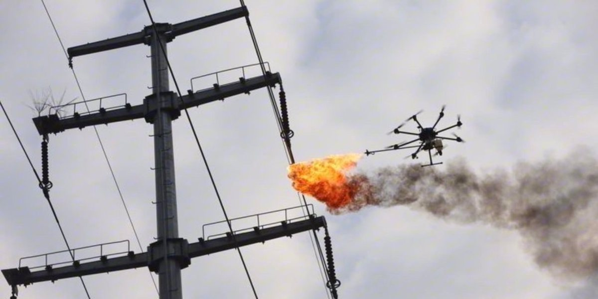 Cleaning power lines is easy when you have a flame-throwing drone0000