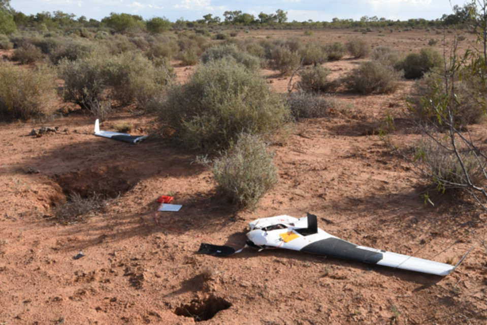 Daniel Parfitt's crashed $80,000 drone after an attack by a wedge-tailed eagle. Photo: Tom Law
