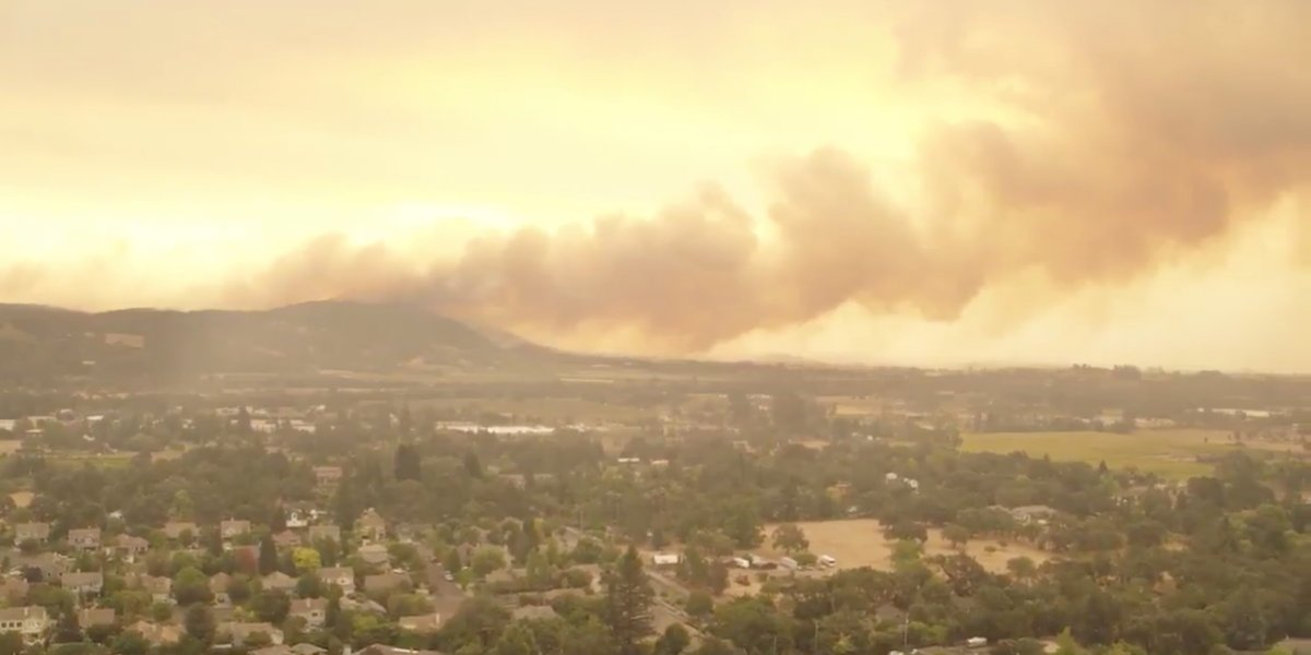 Drone footage shows fast moving wildfires in Napa and Sonoma counties