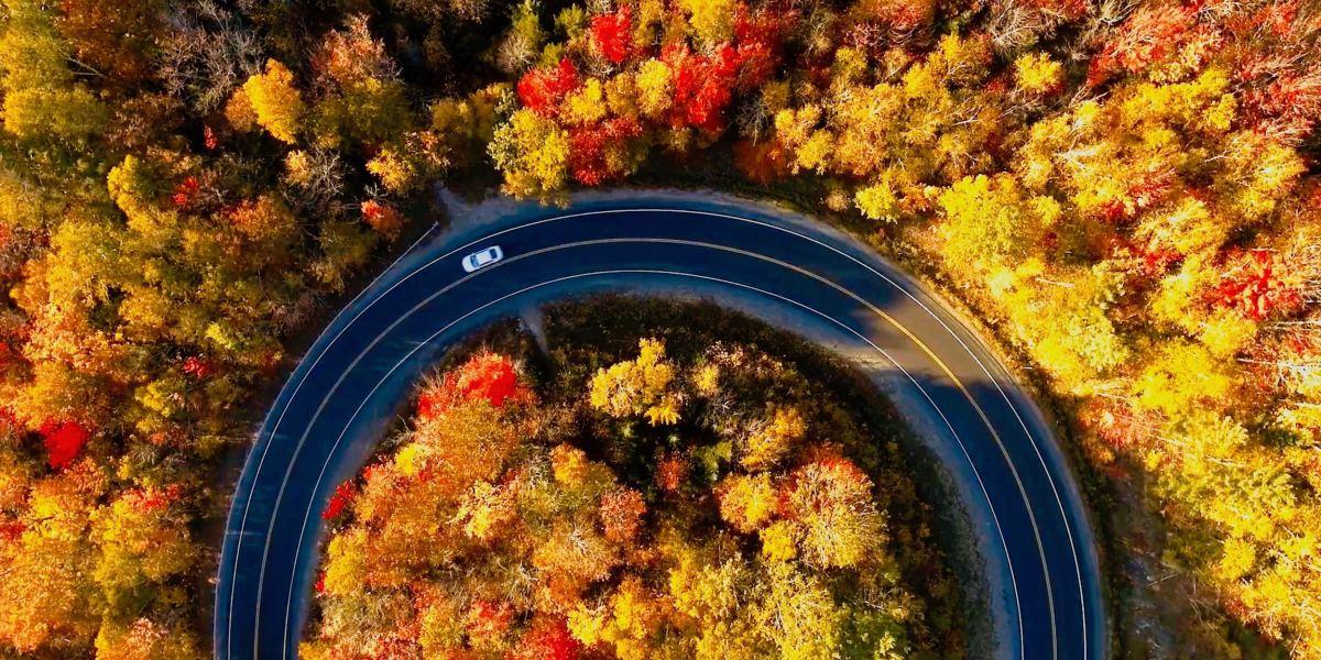 Fantastic fall foliage of New England - Drone video