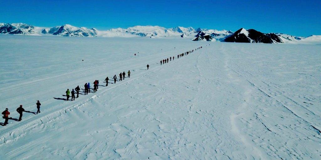 Cinematic footage of Antarctic Ice Marathon captured by drone