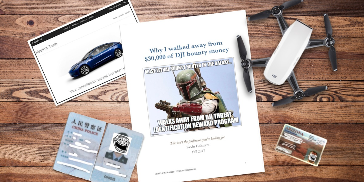 Security researcher exposes DJI customer data, walks away from $30k bug bounty and posts his story online