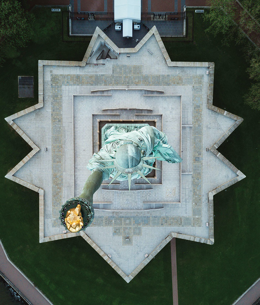 Statue of Liberty - Amazing drone photos of New York City looking straight down 0006