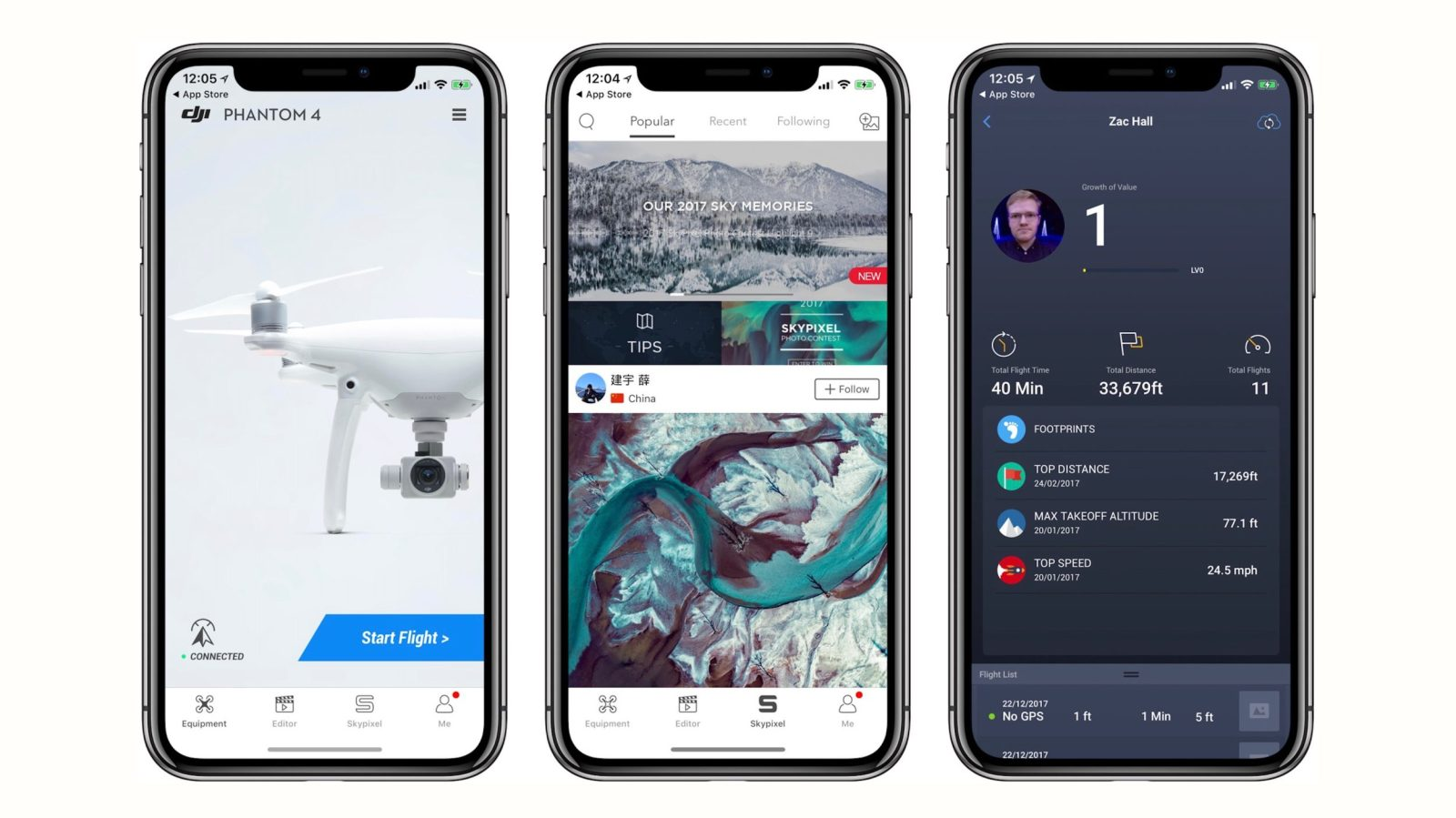 dji for ios now goes full screen on iphone x new spark. Black Bedroom Furniture Sets. Home Design Ideas