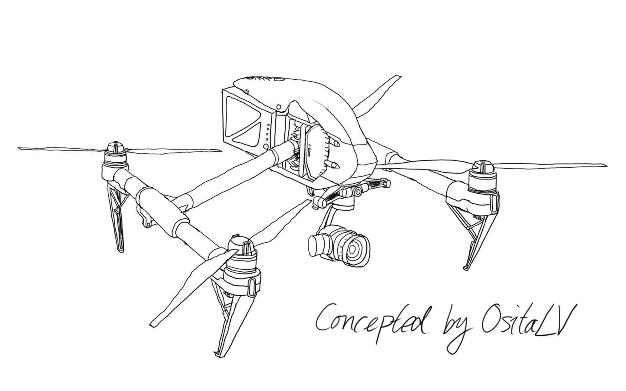 New drawings of the DJI Inspire 3 and Zenmuse X6, X7s, X8
