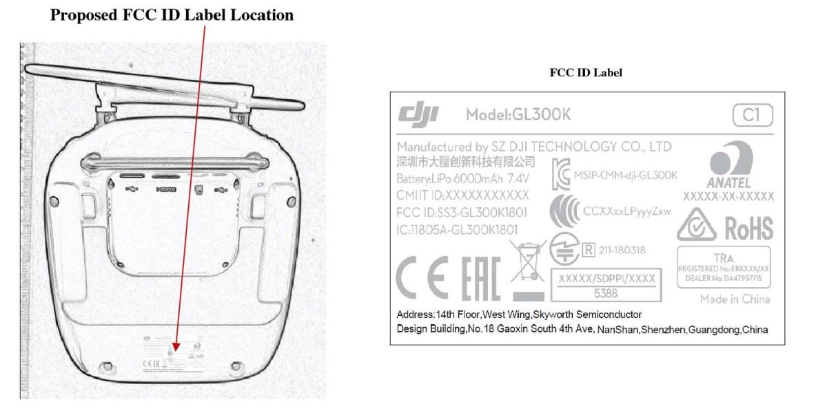 FCC filing of the Phantom 4 Pro V2.0 controller