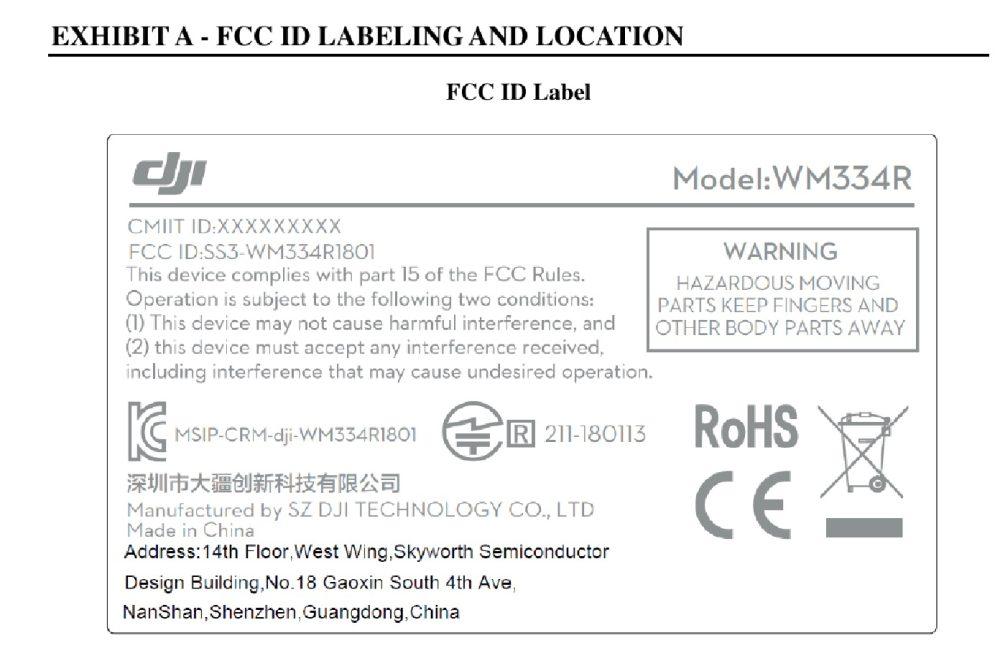 FCC ID label for the Phantom 4 RTK