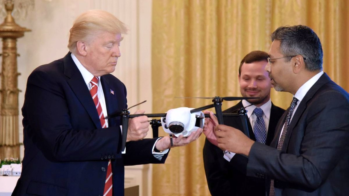 President Trump inspects a drone