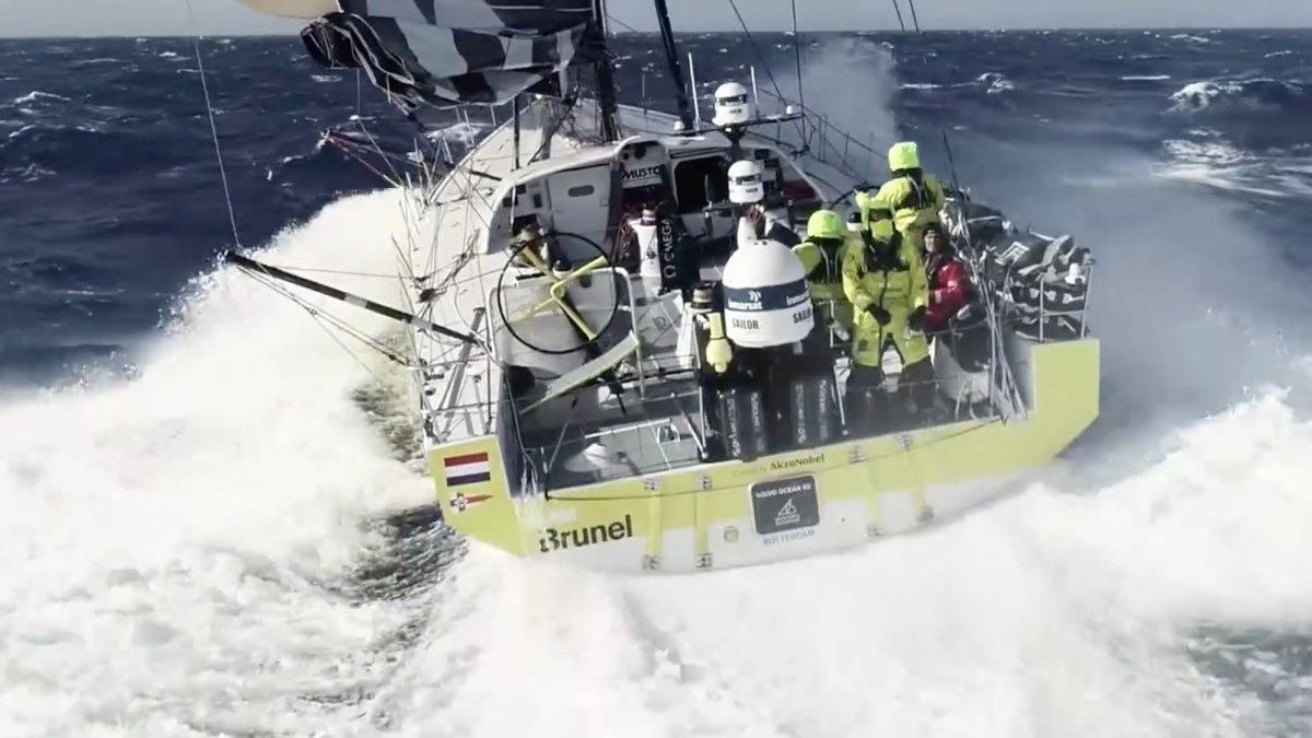Watch Team Bunel fly and catch a drone from a Volvo Ocean Race yacht [video]