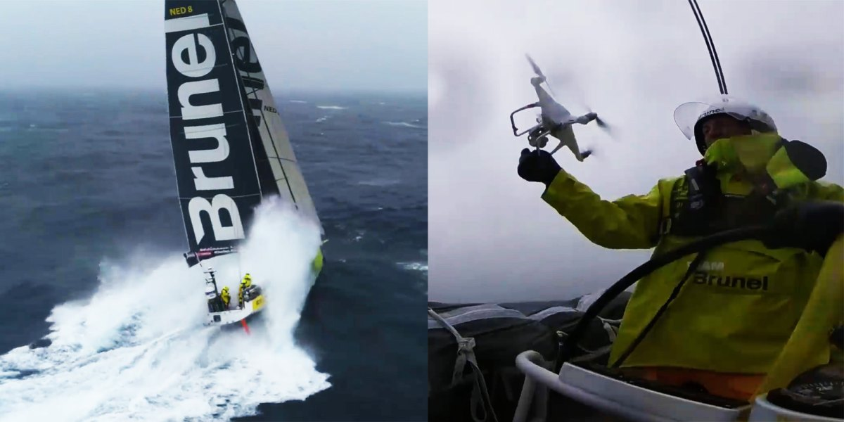 Spectacular drone footage and landing during the record-breaking 9th Leg of the Volvo Ocean Race by Team Brunel [video]