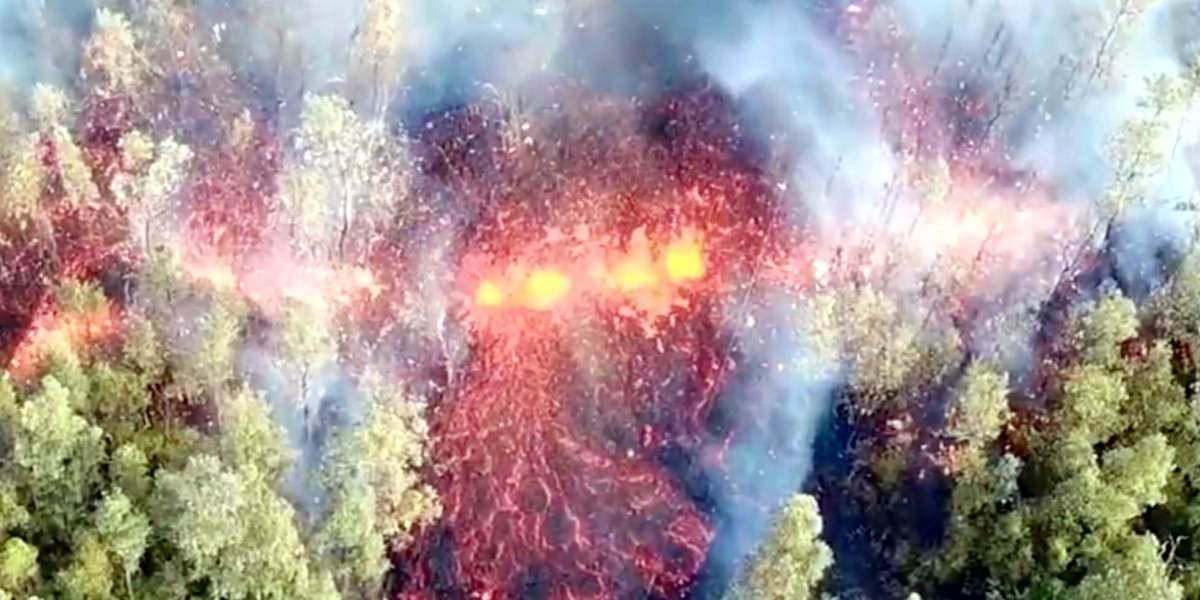 Hawaii volcano eruption: drone video shows Mount Kilauea spewing lava