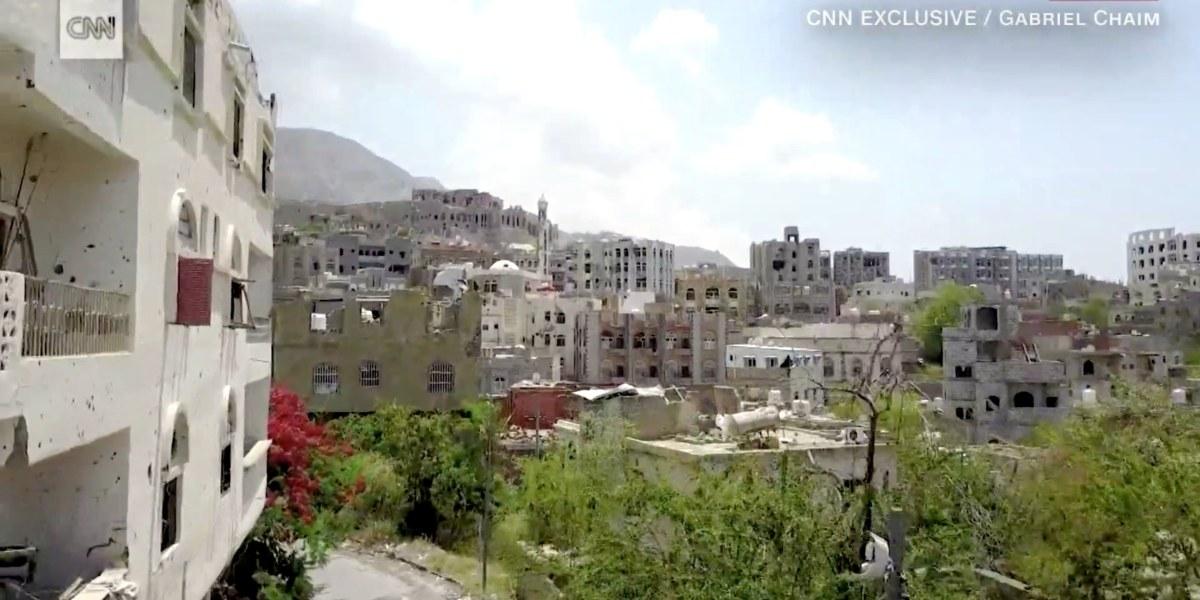 Drone footage shows Yemen's city of Taiz in ruins