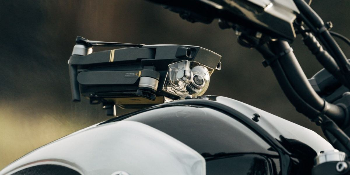 """Ever wondered how to take your DJI Mavic Pro with you on a motorcycle? Check out this custom """"Goldrush Bike"""""""