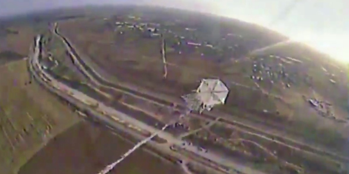 Onboard video footage from Israeli drones as they take down a 'fire kite'