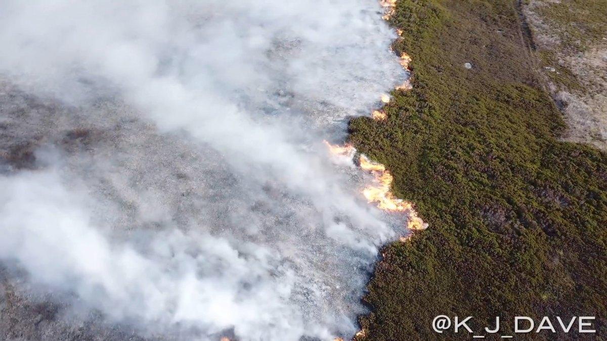 Drone footage of fire during UK heatwave shows massive destruction