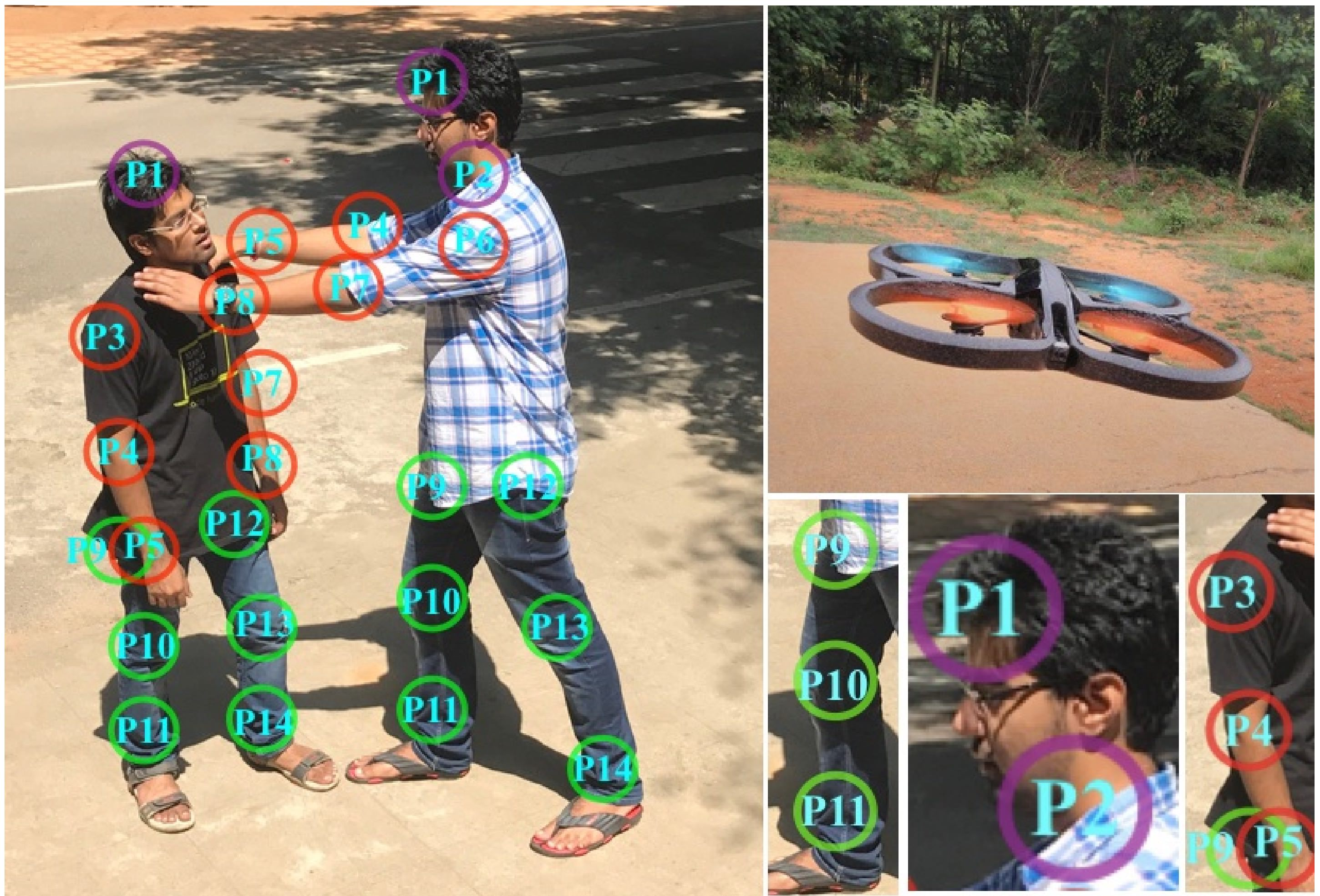 Using a drone and AI to spot fighting people in a crowd
