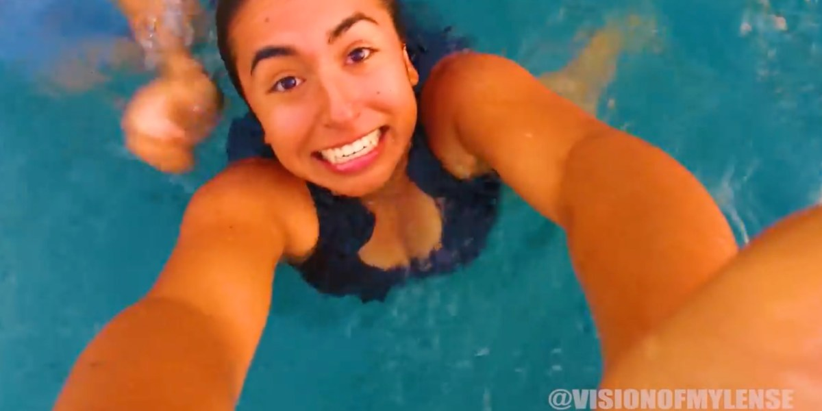 She saves the drone from landing in the pool! Or did she?