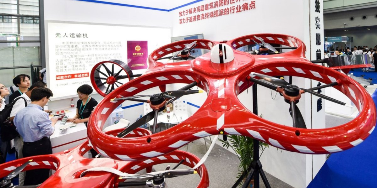Hundreds of drones are displayed at 2018 World Drone Congress and the Third Shenzhen International UAV Expo 2018