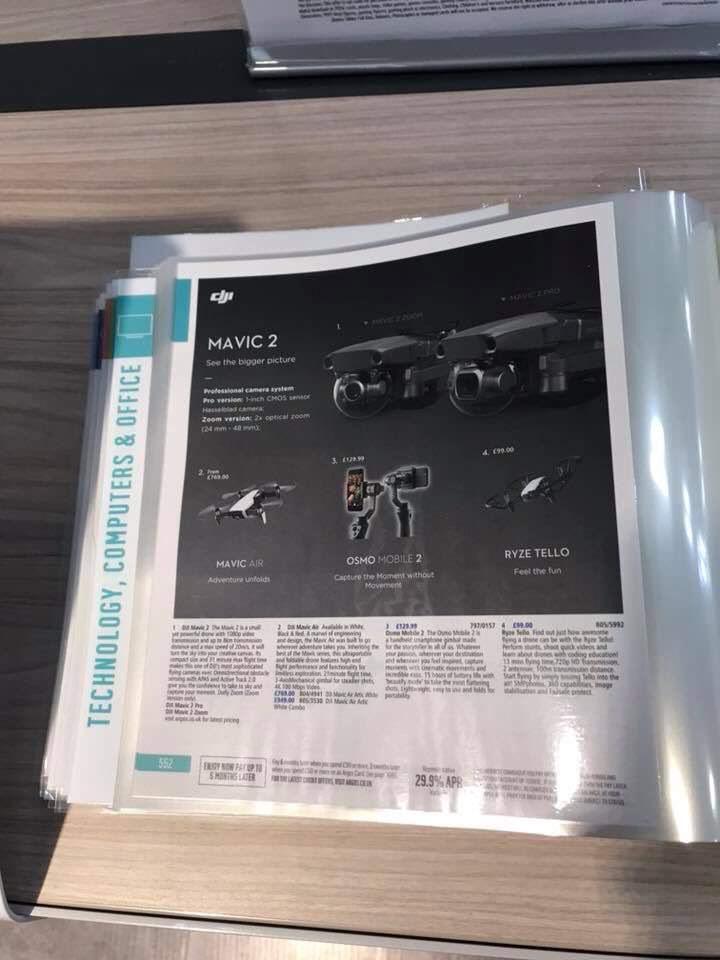 DJI Mavic 2 Pro và DJI Mavic 2 Zoom đã được liệt kê trong danh mục UK Argos