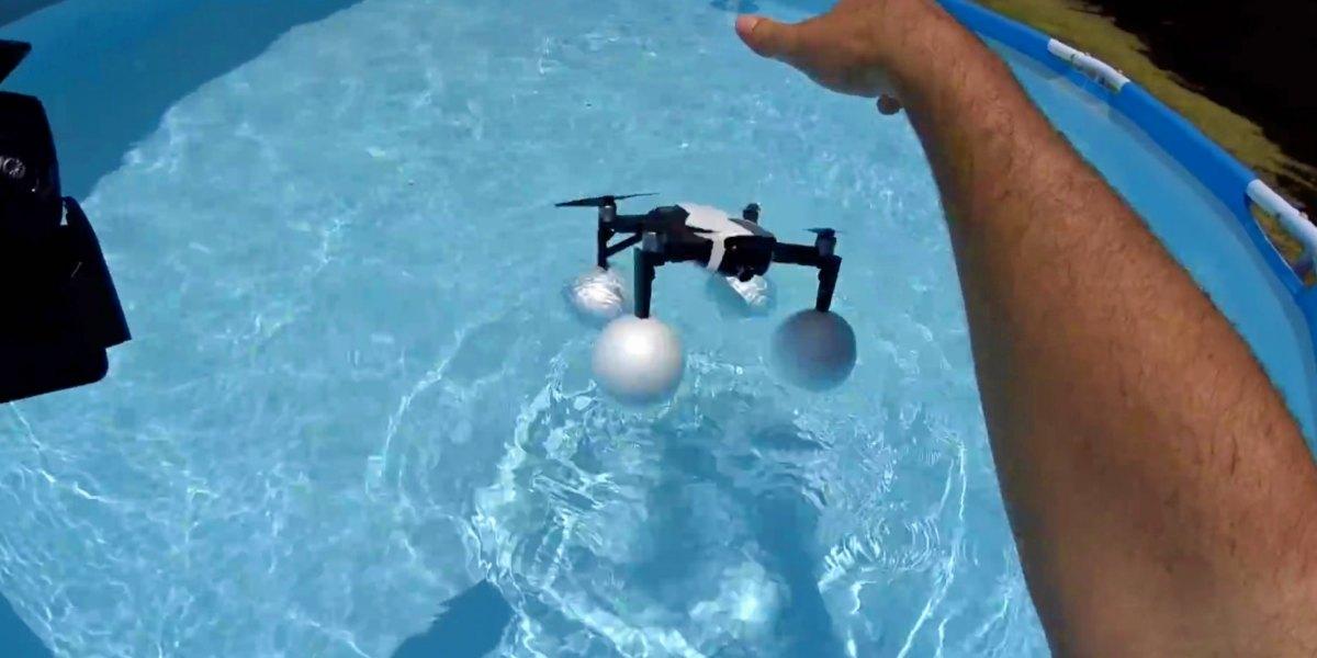 DJI Mavic Air survives being submerged during test with water landing gear [video]