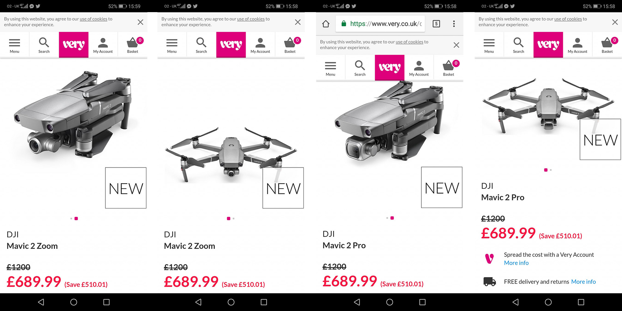 DJI Mavic 2 Pro and Zoom surface on website of yet another UK retailer, 'Very'