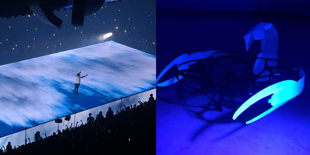 Lucie micro-drones dance with Drake in songs Elevate and Look Alive during show in Detroit