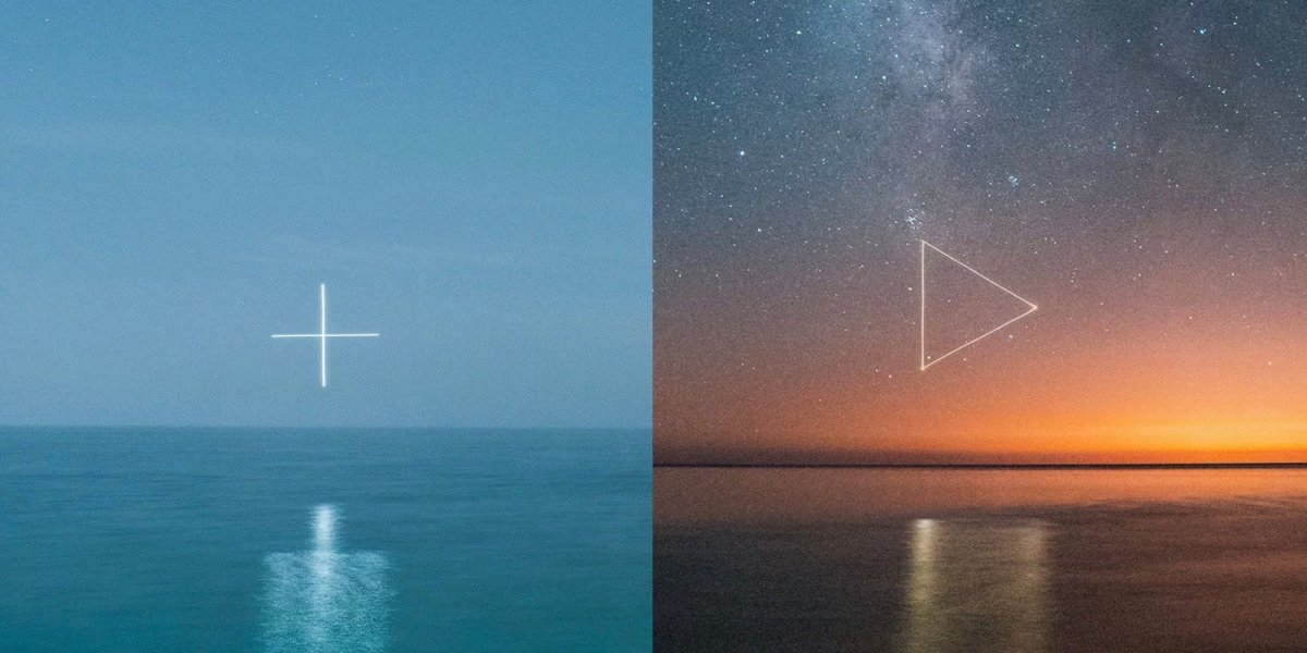 Photographer uses a drone to create glowing symbols over water