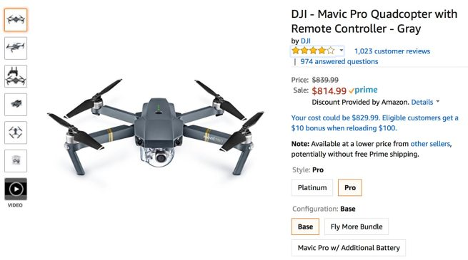 DJI upgrades their official Amazon store, includes a deal page