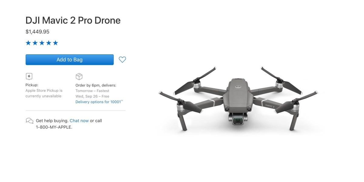 Mavic 2 Pro is still $1,449 at the Apple online store