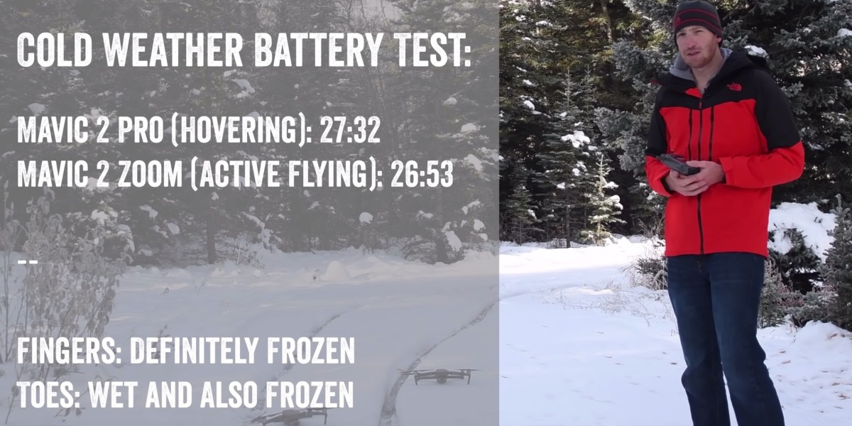 DC Rainmaker posted a cold weather battery test video to measure the battery life of the DJI Mavic 2 Pro and Zoom models in the Canadian mountains.