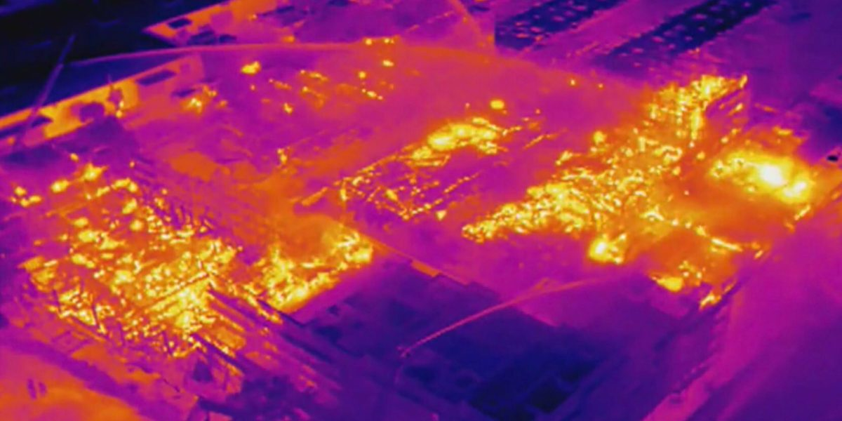 Drone with thermal camera shows hot spots in massive fire in Oakland, Calif.