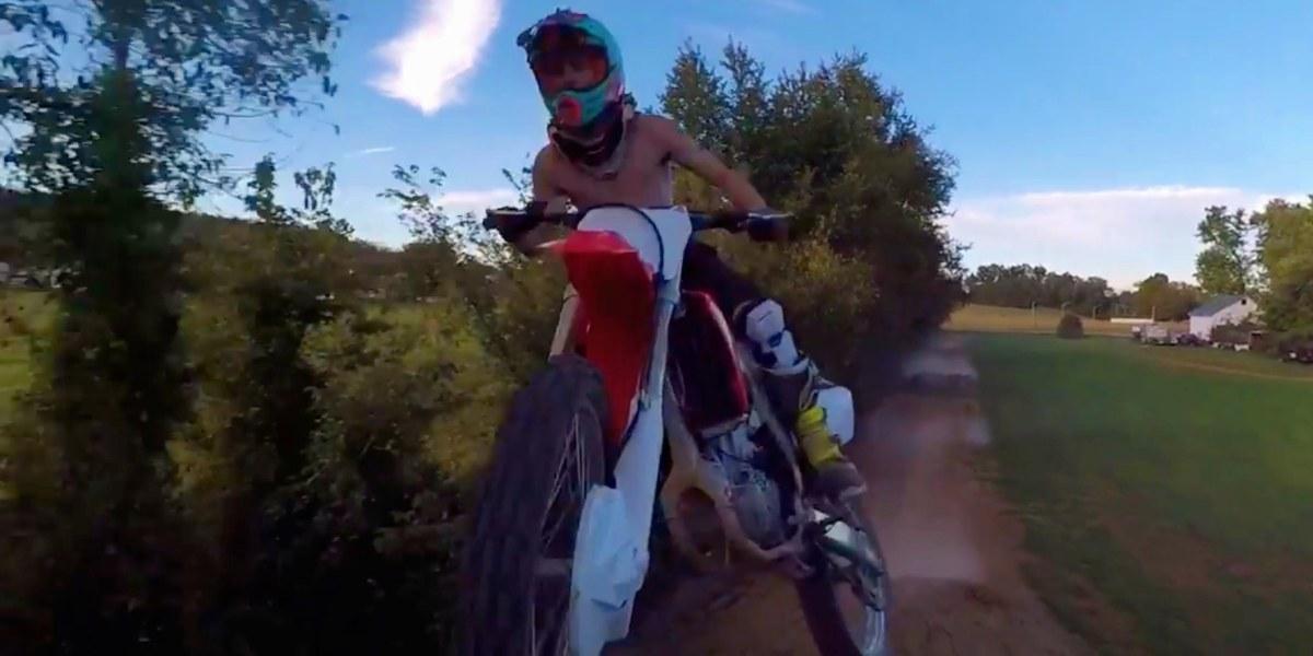 Drone and dirt biker crash midair during massive jump