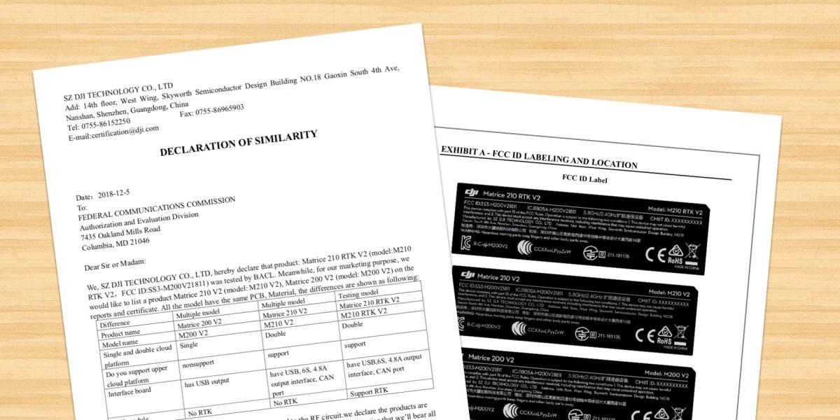 DJI Matrice 200 V2, Matrice 210 V2 and Matrice 210 RTK V2 show in FCC filling