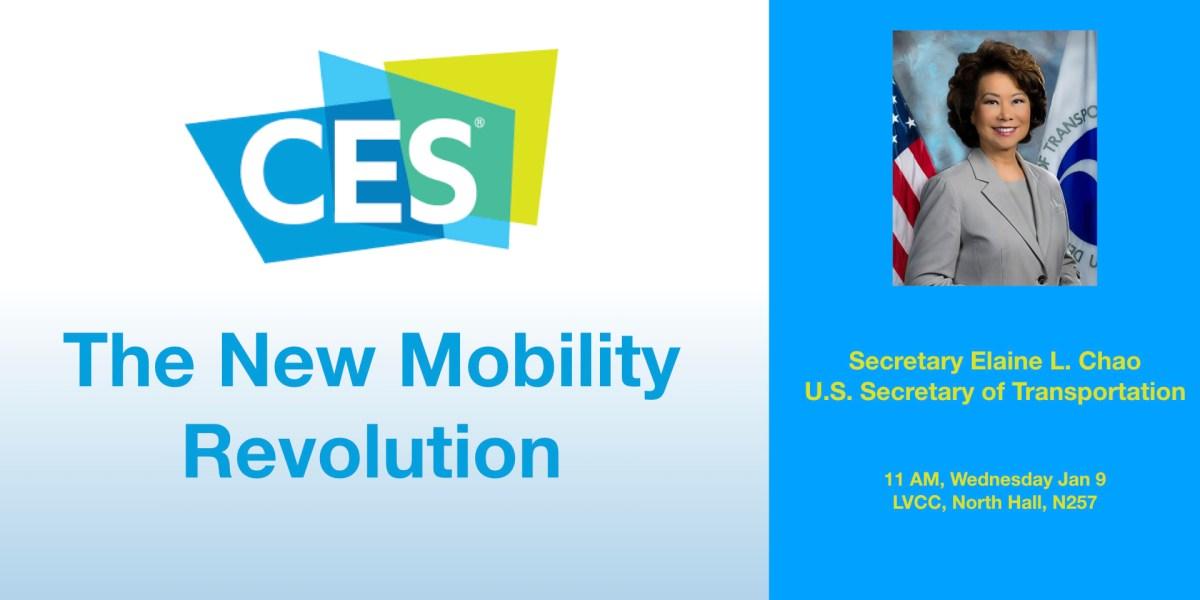 U.S. Secretary of Transportation Elaine L. Chao to deliver CES 2019 Keynote