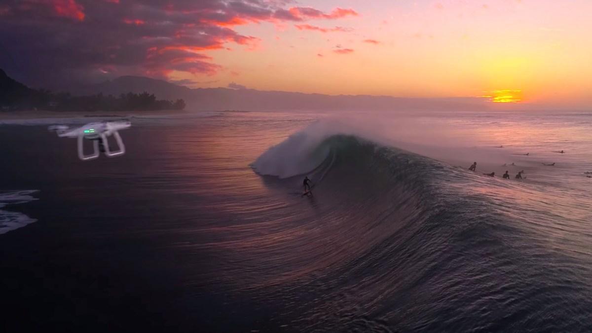 Legendary surfer Derek Ho almost hit by Phantom drone at Pipeline