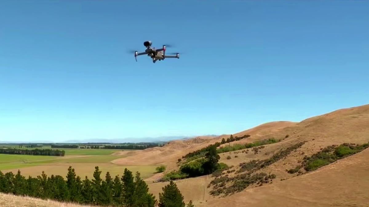 Herding sheep with a drone that barks like a dog
