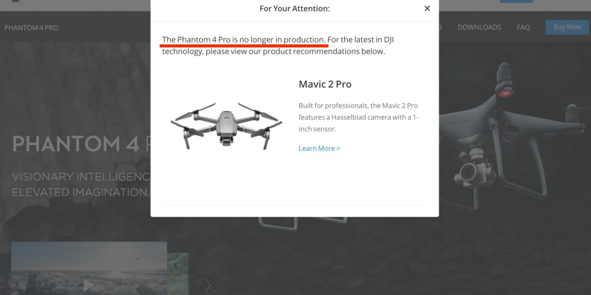 Phantom 4 Pro out of production according to DJI's website