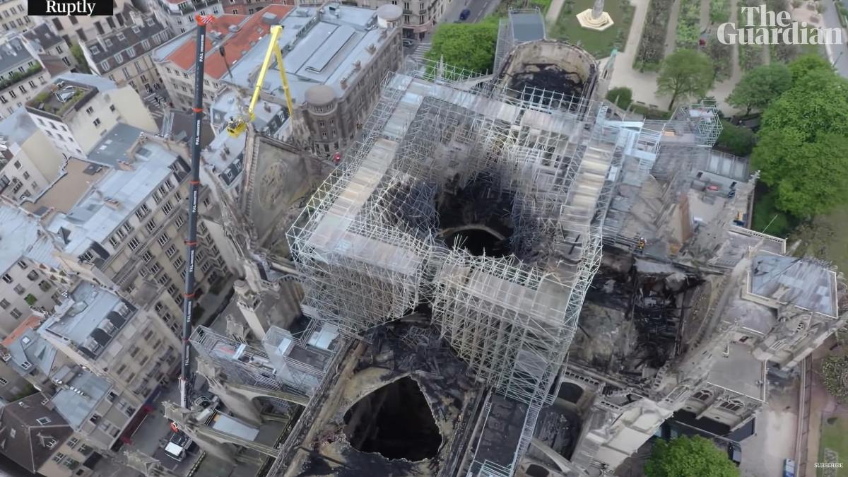 Drone footage shows extent fire damage of Notre Dame Cathedral