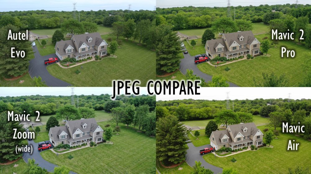EVO and Mavic Drones JPEG Compare house