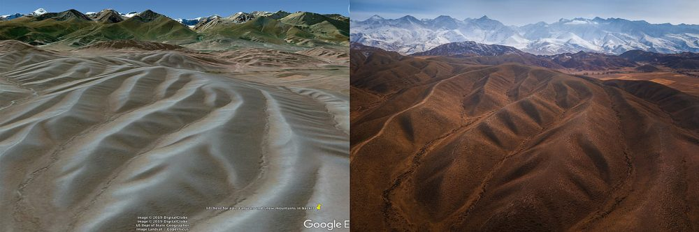 Simple of example of a scouted 3d location on Google Earth (left) and the drone result (right).