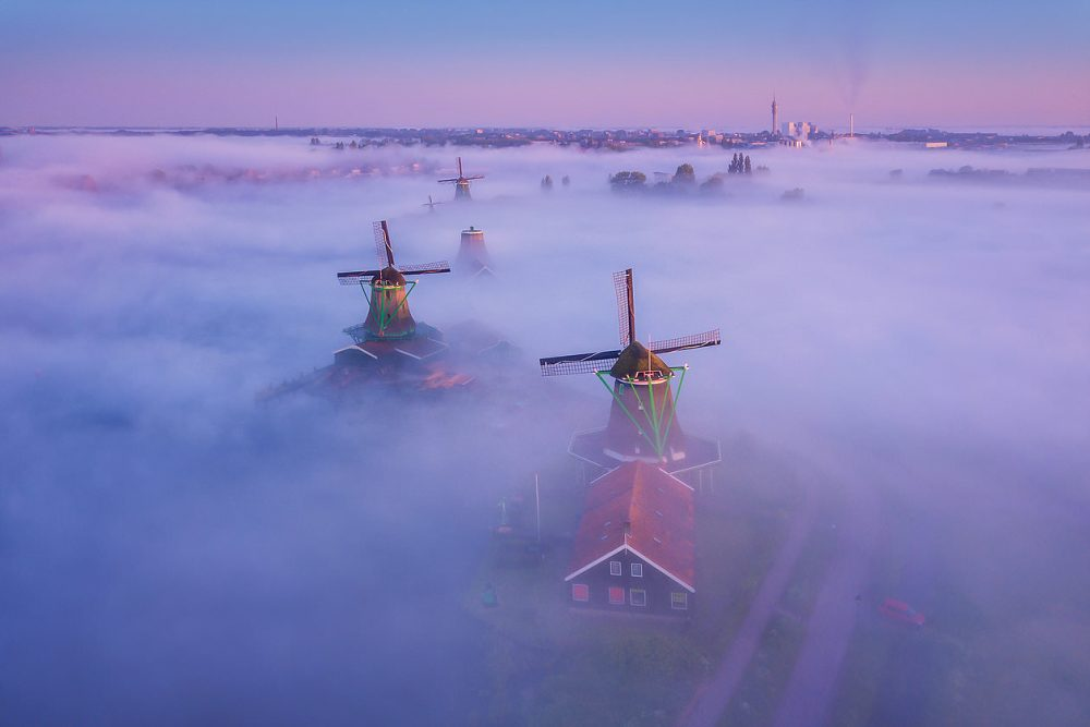 Flying above the fog with a drone is magical.
