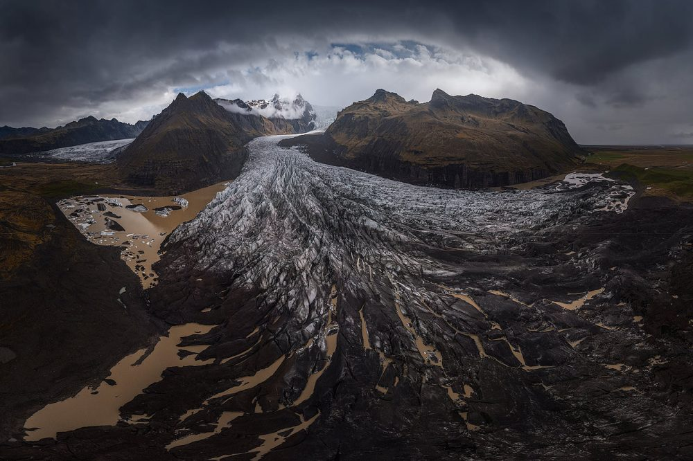 A huge glacier in Iceland captured using the 360 panorama mode of the Mavic