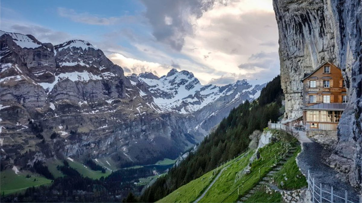 Managers iconic Swiss cliff face restaurant want to ban 'annoying' drones