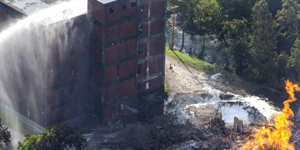 Drone video shows Jim Beam warehouse destruction after raging fire