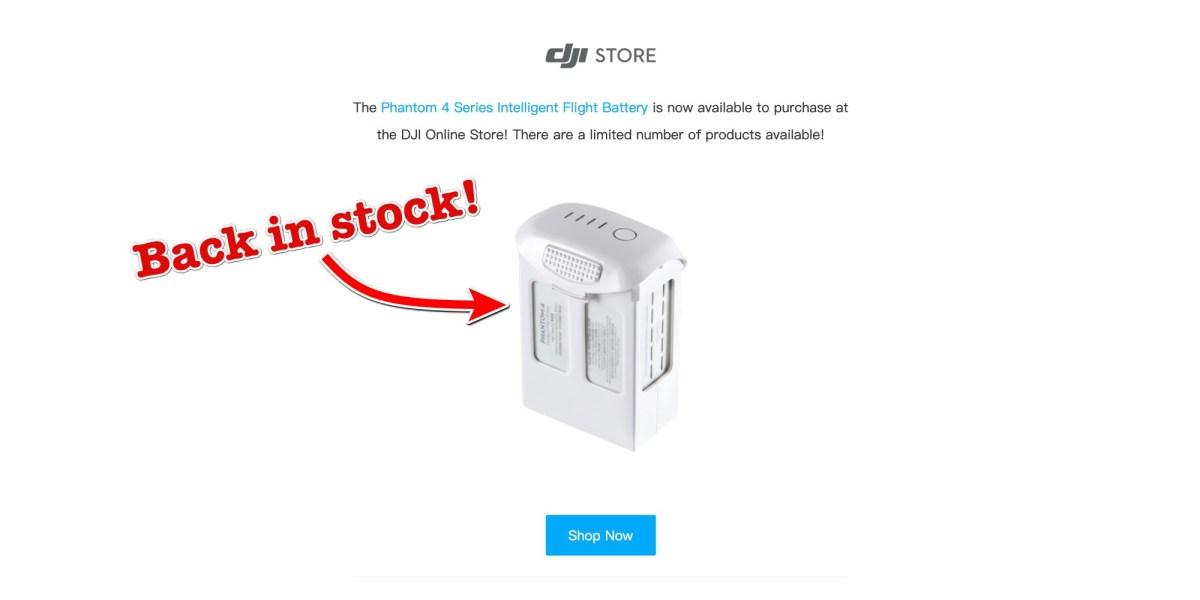 Phantom 4 Series Intelligent Flight Battery back in stock!