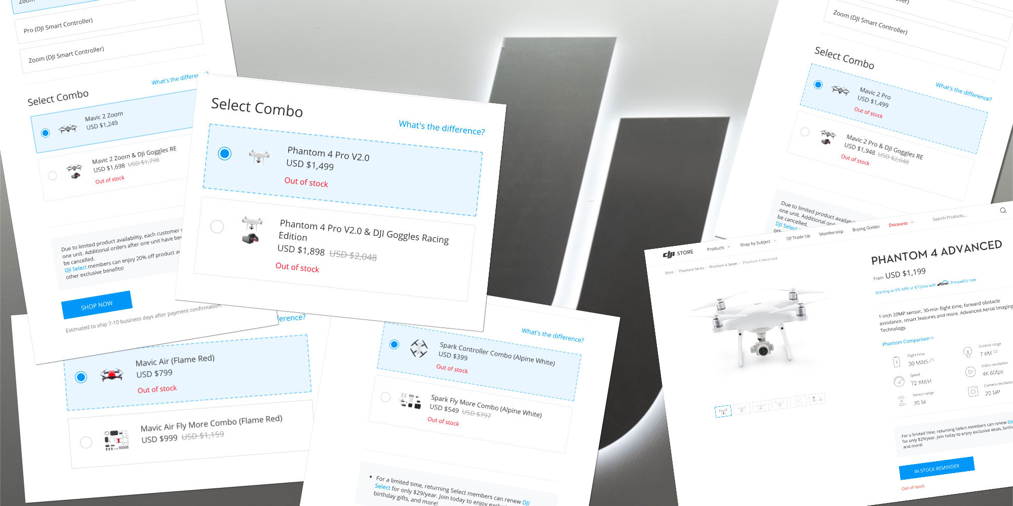 Almost all DJI drones are out of stock at official DJI online store
