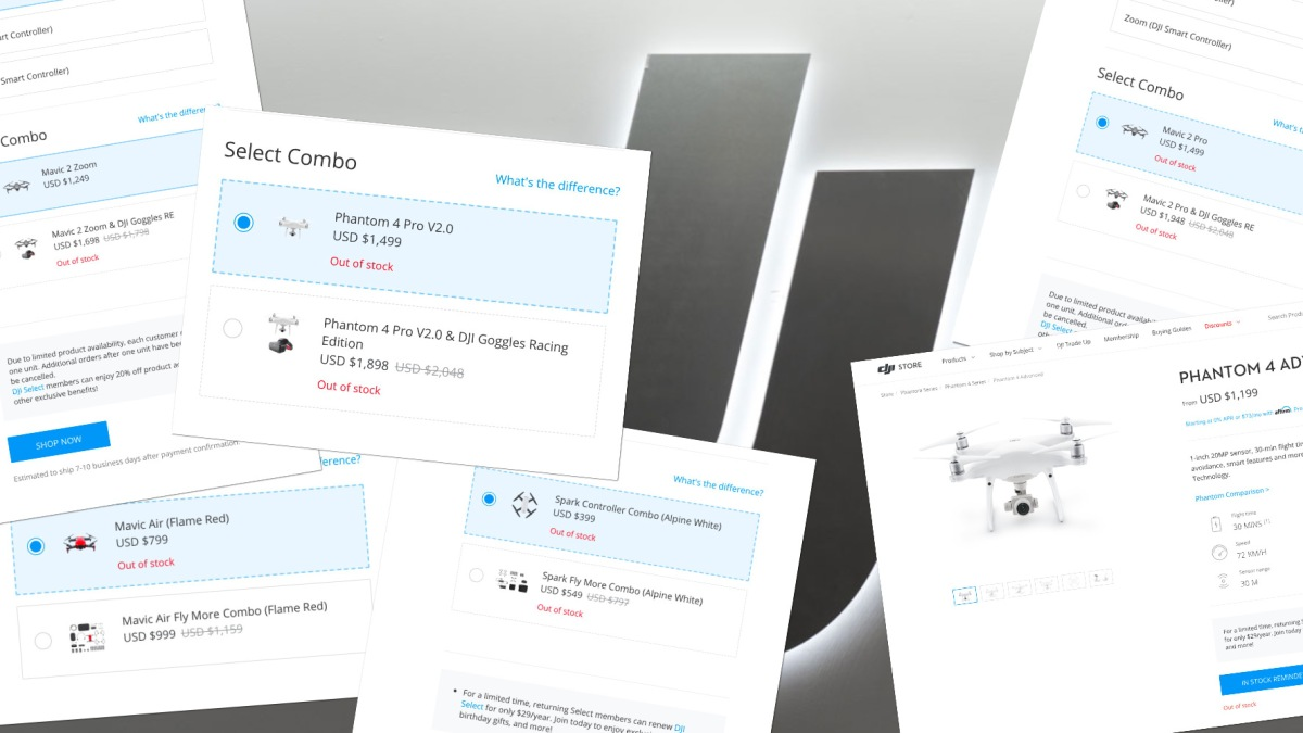 Almost all DJI drones are out of stock