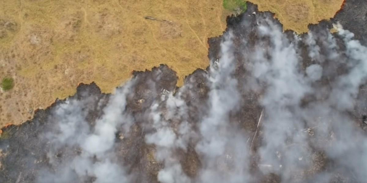 Drone video amazon rain forest fire